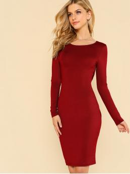 Glamorous and Sexy Bodycon Plain Pencil Slim Fit Scoop Neck Long Sleeve Natural Burgundy Short Length Twist V Back Sit Dress