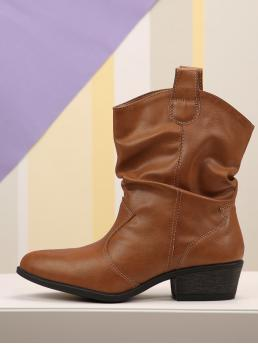 Round Toe Mid Calf Brown Low Heel Chunky Slouch Faux Leather Western Booties