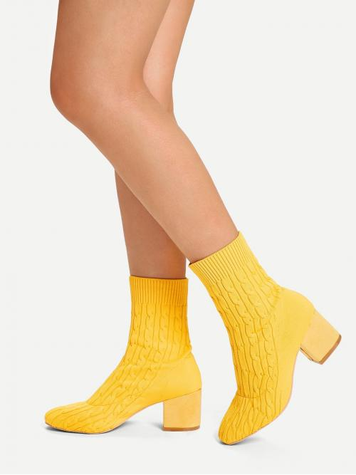 Business Casual Sock Boots Almond Toe No zipper Yellow Low Heel Chunky Cable Knit Sock Boots