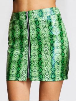 Glamorous Bodycon Animal Mid Waist Multicolor Above Knee/Short Length Zip Up Snakeskin Print PU Skirt