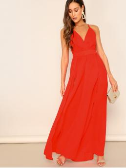 Glamorous and Sexy Cami Plain Slit Regular Fit Deep V Neck and Spaghetti Strap Sleeveless High Waist Red and Bright Maxi Length M-Slit Cross Back Neon Red Cami Prom Dress