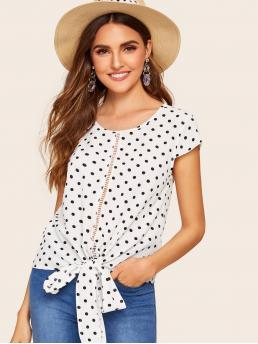 Casual Polka Dot Top Regular Fit Round Neck Cap Sleeve Pullovers Black and White Regular Length Polka Dot Knot Hem Blouse with Belt