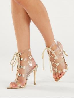 Glamorous Point Toe Criss Cross and Strappy Gold High Heel Stiletto Pointed Sole Lace Front PVC Stiletto Heels