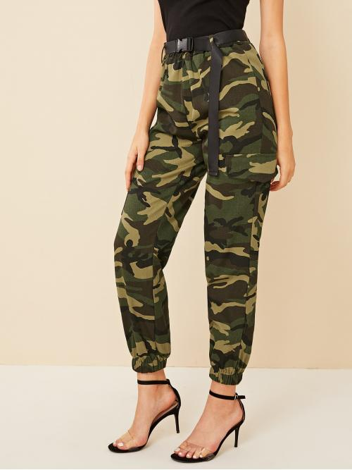 Trending now Multicolor High Waist Belted Cargo Pants Cargo Pants
