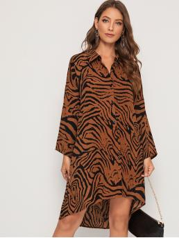 Casual Shirt Zebra Stripe Asymmetrical Regular Fit Collar Long Sleeve Regular Sleeve Natural Multicolor Short Length Zebra Striped High Low Hem Dress