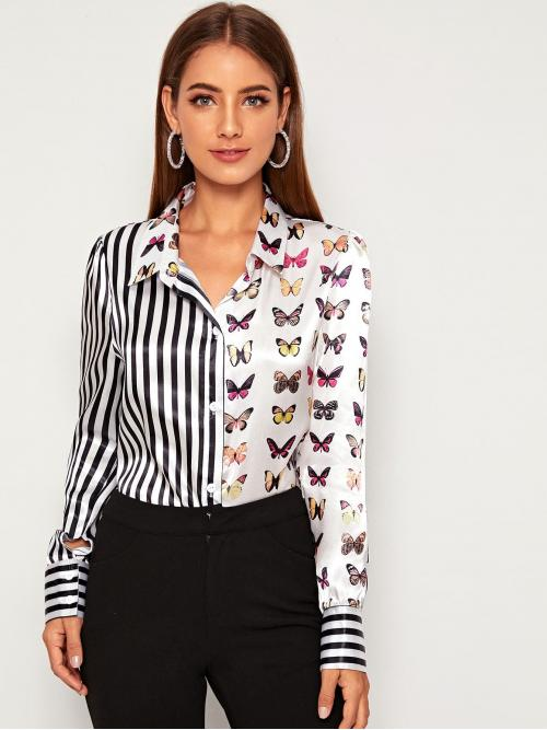 Casual Striped and Animal Shirt Regular Fit Collar Long Sleeve Regular Sleeve Placket Multicolor Regular Length Two Tone Striped & Butterfly Print Satin Blouse