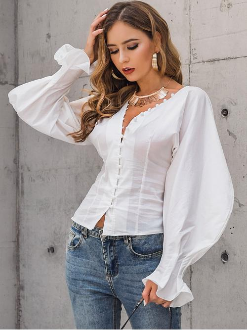 Elegant Plain Shirt Regular Fit V neck Long Sleeve Placket White Regular Length Glamaker Button Front Bishop Sleeve Shirt