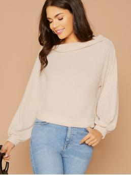 Casual Plain Top Regular Fit Boat Neck Long Sleeve Batwing Sleeve Pullovers Beige Regular Length Boat Neck Thermal Knit Long Sleeve Top