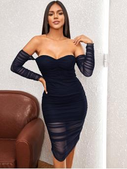 Sexy Bodycon Plain Pencil Slim Fit Off the Shoulder Long Sleeve Regular Sleeve High Waist Navy Midi Length Off Shoulder Ruched Mesh Bodycon Dress with Lining