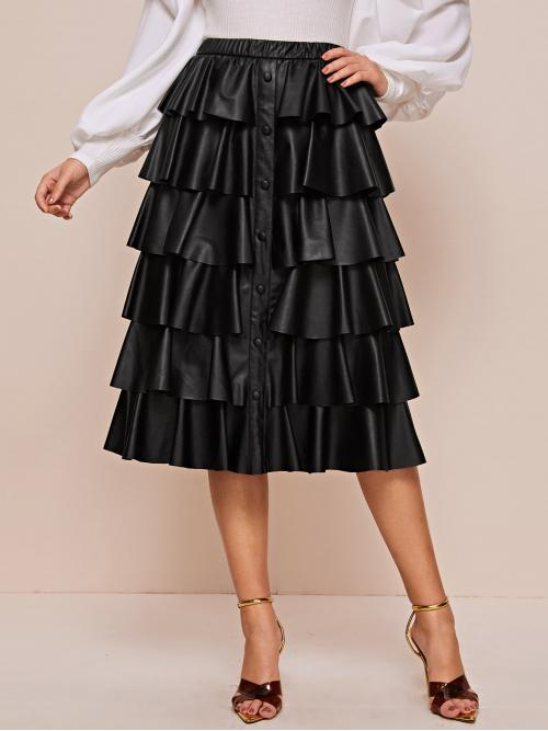 Glamorous Layered/Tiered Plain Mid Waist Black Midi Length Button Front Layered Ruffle PU Skirt