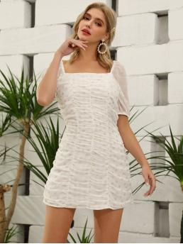 Boho Fitted Polka Dot Straight Regular Fit Square Neck Short Sleeve Puff Sleeve Natural White Short Length D&M Gold Polka Dot Ruched Dress with Lining