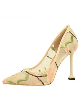 Court Point Toe Floral Apricot Ultra High Heel Sculptural Heels Floral Embroidered Ultra High Heel Pumps