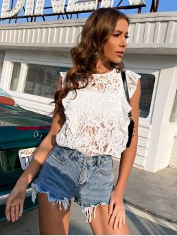 Cap Sleeve Top Sheer Lace Trim Blouse Without Bandeau Pretty