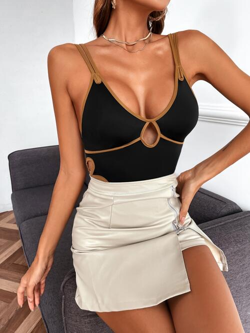 Affordable Sleeveless Cami Contrast Binding Polyester Bodysuit