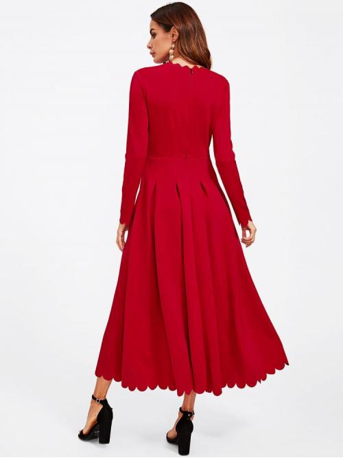 Womens Red Plain Scallop Round Neck Edge Boxed Pleated Fit & Flare Dress