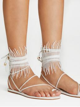 Strap Sandals Toe Post Strappy White Fringe Detail Lace Up Sandals