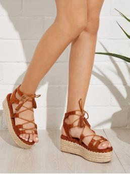 Ankle Strap Open Toe Flatform Lace Up Brown Espadrille Tie Leg Wedge Sandals With Tassel