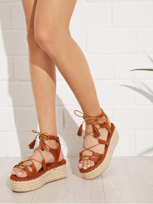 Corduroy Brown Stretch Boots Tassel Tie Leg Wedge Sandals with on Sale