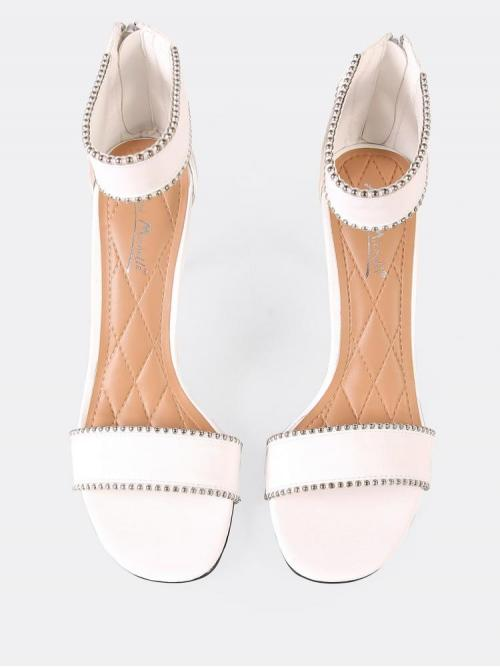 Corduroy White Strappy Sandals Cut out Single Band Ankle Cuff Heel with Beading Trim Clearance