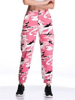 Casual Camo Regular Button Fly Mid Waist Multicolor Long Length Pocket Detail Camouflage Pants