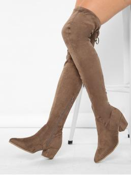 Fashion Velvet Mocha Brown Stretch Boots Pleated Pointed Toe Stretch Block Heel Thigh Boots