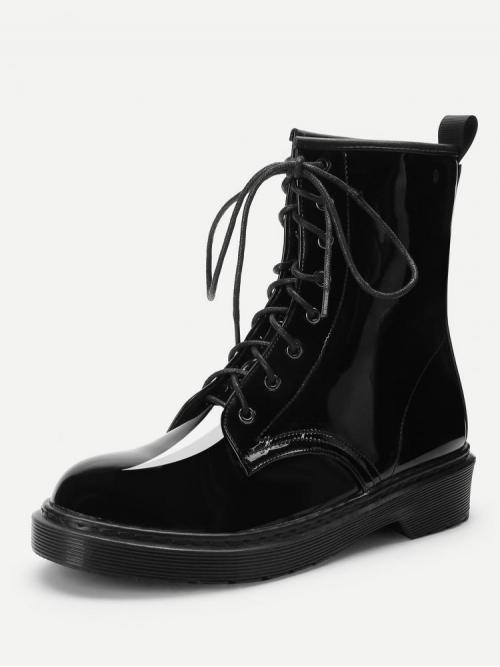 Clearance Corduroy Black Combat Boots Buckle Lace-up Martin Boots