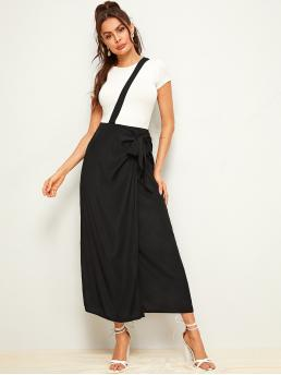 Preppy Wrap Plain High Waist Black Long/Full Length Solid Asymmetrical Wrap Knotted Skirt With Strap