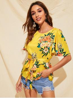 Boho Floral Top Regular Fit Round Neck Short Sleeve Flounce Sleeve Pullovers Yellow Regular Length Bell Sleeve Floral Print Belted Top with Belt