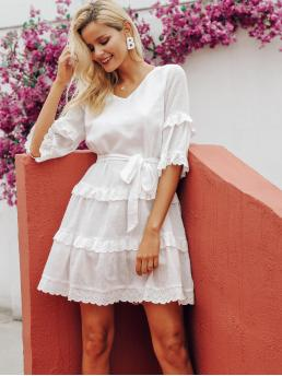 Boho Tunic Plain Layered/Tiered Loose V neck Three Quarter Length Sleeve Flounce Sleeve Natural White Short Length Simplee Embroidered Eyelet Ruffle Trim Belted Dress with Belt