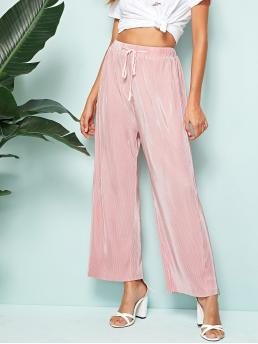 Casual Plain Wide Leg Loose Drawstring Waist and Elastic Waist High Waist Pink Cropped Length Drawstring Waist Wide Leg Pleated Pants