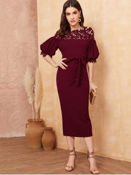 Glamorous Bodycon Plain Straight Slim Fit Off the Shoulder Half Sleeve High Waist Burgundy Long Length Guipure Lace Yoke Puff Sleeve Pencil Belted Dress with Belt