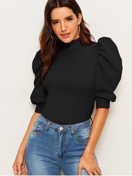 Elegant Plain Top Slim Fit Stand Collar Half Sleeve Pullovers Black Regular Length Exaggerate Puff Sleeve Blouse