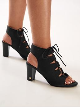 Business Casual Open Toe Plain Black Cork Lace-up Front Chunky Heels