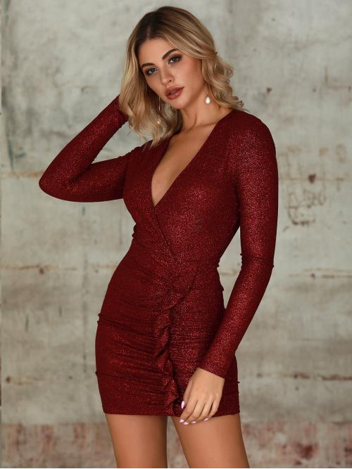 Glamorous and Sexy Bodycon Plain Pencil Slim Fit V neck Long Sleeve Regular Sleeve Natural Burgundy Short Length Double Crazy Deep V Neck Ruffle Ruched Glitter Dress
