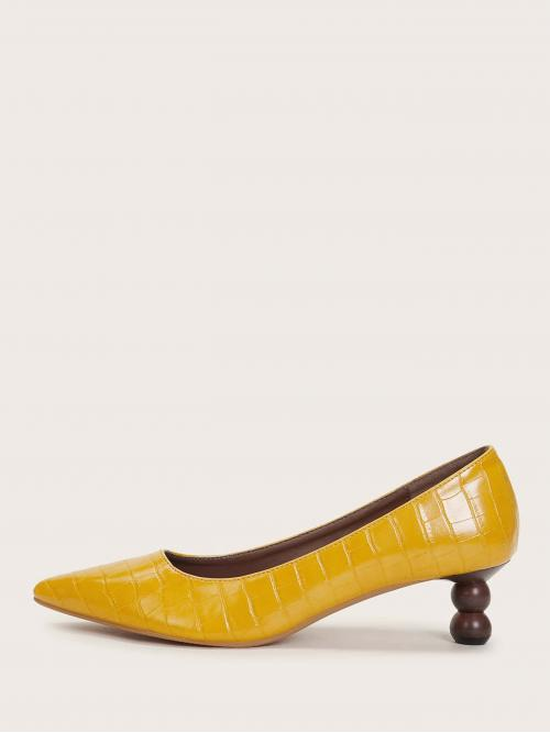 Business Casual Crocodile Yellow and Bright Mid Heel Cork Point Toe Croc Embossed Heels