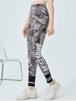 Women's Multicolor Regular Camo Cropped Slogan Graphic Leggings
