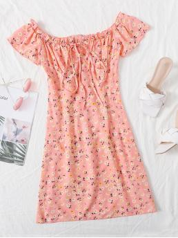 Shopping Coral Pink Ditsy Floral Tie Front off the Shoulder Frill Trim Dress