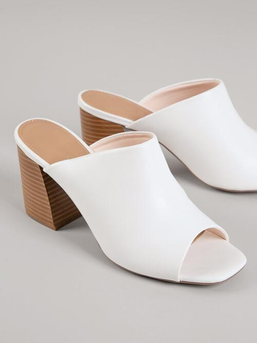 Discount White Mules High Heel Chunky Vegan Leather Open-toe Slip-on Stacked Block Heels
