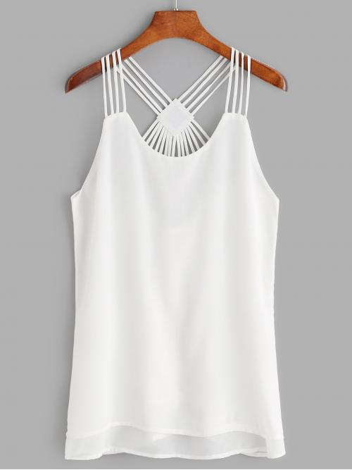 Casual Cami Plain Slim Fit Straps White Strappy Back Layered Tank