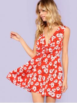 Clearance Multicolor Floral Belted Deep V Neck Fit and Flare Dress