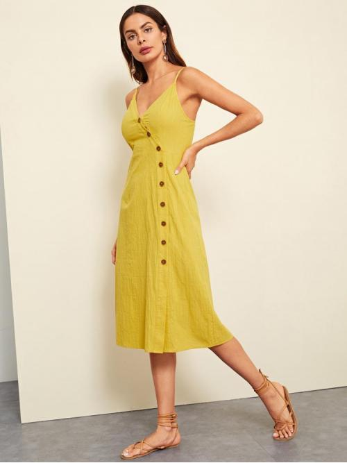 Sale Yellow Plain Button Spaghetti Strap Buttoned Wrap Front Dress