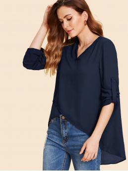 Casual Plain Asymmetrical and Wrap Top Regular Fit V neck Long Sleeve Navy Longline Length Roll Up Sleeve High Low Top