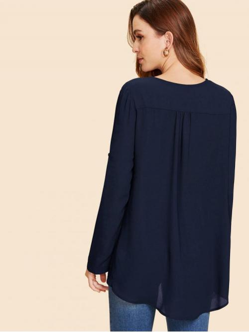 Pretty Long Sleeve Top Button Polyester High Low Top