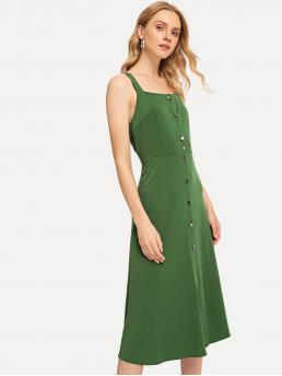Vintage A Line Plain Square Neck Sleeveless Natural Green Long Length Thick Strap Button Up Dress