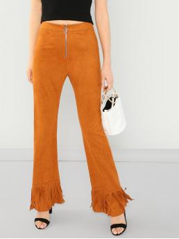 Glamorous Plain Flare Leg Skinny Zipper Fly High Waist Yellow Long Length Zip Front Fringe Detail Flare Pants