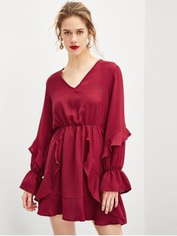 Clearance Red Plain Ruffle V Neck Detail Solid Dress