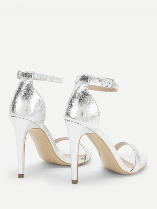 Womens Corduroy Silver Court Pumps Glitter Single Band Ankle Heels