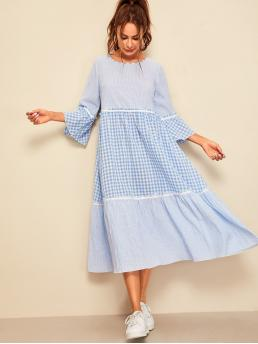 Cute A Line Gingham Flounce Loose Round Neck Three Quarter Length Sleeve Flounce Sleeve Natural Blue Midi Length Frill Trim Gingham and Striped Smock Dress