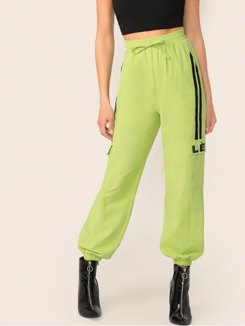Sporty Striped Cargo Pants Regular Elastic Waist High Waist Green and Bright Long Length Neon Lime Striped Side Flap Pocket Tapered Pants