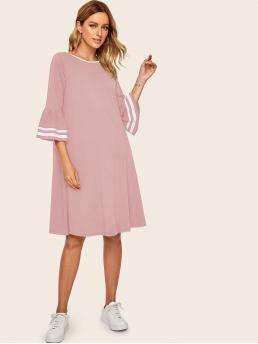 Casual Striped Straight Loose Round Neck Three Quarter Length Sleeve Natural Pink Midi Length Striped Flounce Sleeve Dress